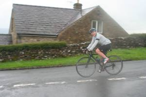 Arriving back at the village hall, the finish line