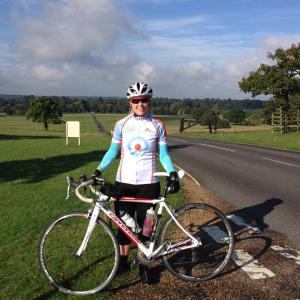 Wearing my AVC jersey in Woburn deer park