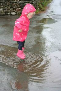 Most people see rain, Savannah sees puddle jumping