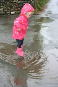 Most people see rain, Savannah sees puddle jumping