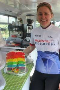 Baking giant rainbow cakes and selling them at my local cafe The Bike Bus to raise money for Bliss