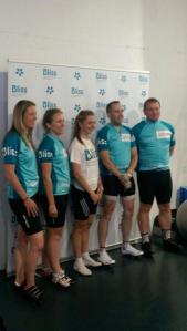 Lining up with fellow Bliss riders for press photos with Laura