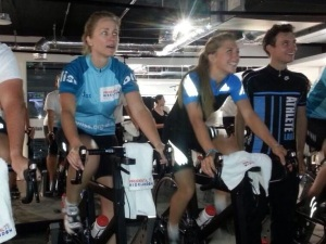 Riding next to Laura Trott at the Bliss training event