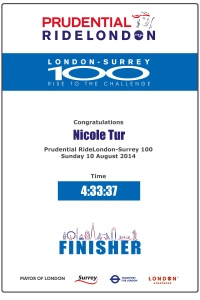 The finisher certificate - Prudential Ride 100 2014