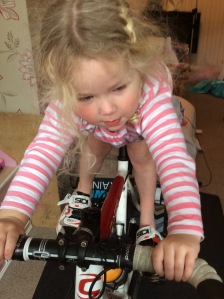 Savannah was caught putting my shoes on and climbing on to the turbo trainer