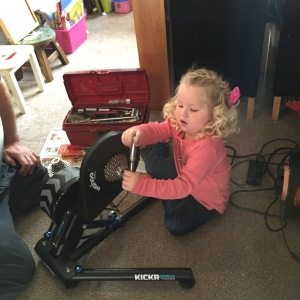 Savannah always like to help, changing the cassette from 10 speed to 9