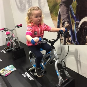 Savannah always asks when will she be big enough for pedals. She got to try some out at the London Bike Show but she still pedals backwards, her cognitive skills haven't quite developed yet