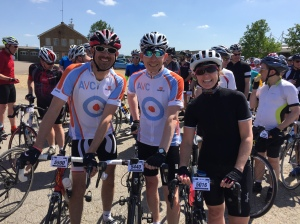 Lining up before the start with my Ampthill Velo Club mates Darren & Nick