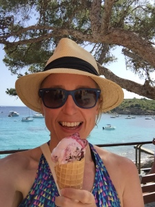 On holiday, on my birthday, enjoying the sunshine and ice cream