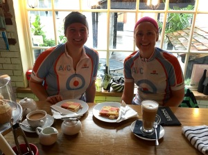 During the winter months we change the format of our ride, stopping at the end, rather than the middle. It's can be difficult to get going again if you're wet and cold. Cake and coffee is always a good motivator to keep the pedals turning.